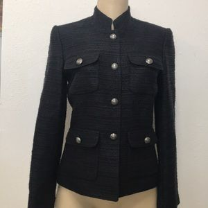 Tahari navy blue tweed jacket